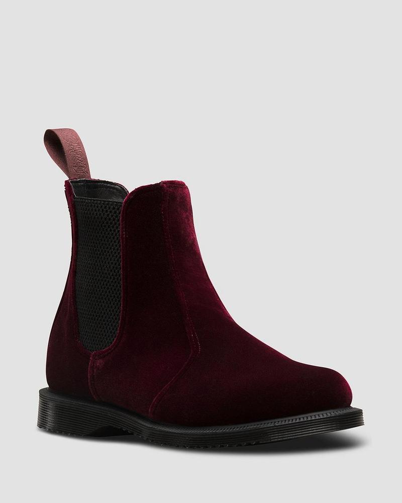 Details about Dr Martens Slip on Boots 2976 Flora Cherry Red Velvet 23962600 Original Doc